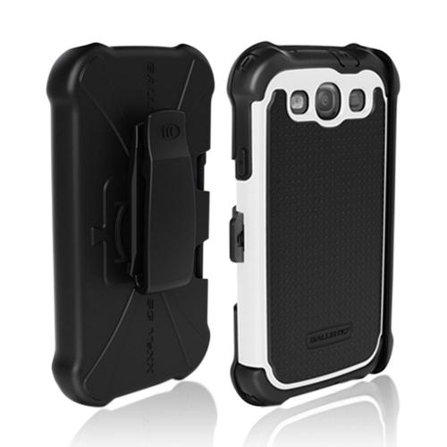 OEM Ballistic Samsung Galaxy S3 SG MAXX Hybrid Case w/ Holster & Built-In Screen Protector - Black/ White