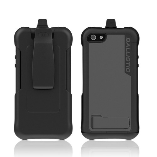 For Apple iPhone 5 Ballistic Black Accent Border Gray Every1 Series Hybrid Case w/ Holster & Built-In Screen Protector