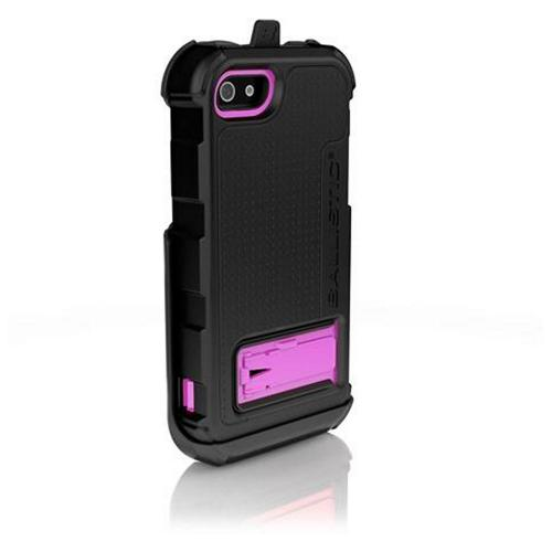 Apple iPhone SE / 5 / 5S  Case, Ballistic [Black/ Pink] Hard Core Series Hybrid Case w/ Holster w/ Built-In Screen Protector