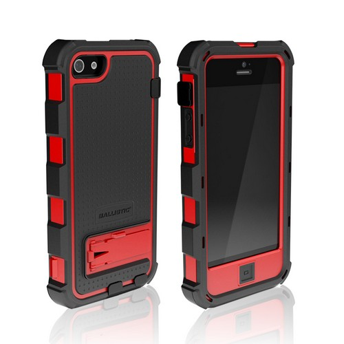 Ballistic Black/ Red Hard Core Series Hybrid Case w/ Holster & Built-In Screen Protector for Apple iPhone 5