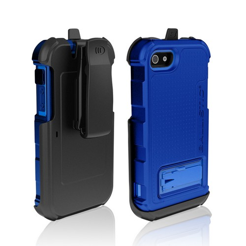Ballistic Navy Blue Hard Core Series Hybrid Case w/ Holster & Built-In Screen Protector for Apple iPhone 5