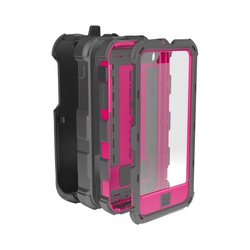 Apple iPhone SE / 5 / 5S  Case, Ballistic [Gray/ Hot Pink] Hard Core Series Hybrid Case w/ Holster w/ Built-In Screen Protector - HC0956-M115