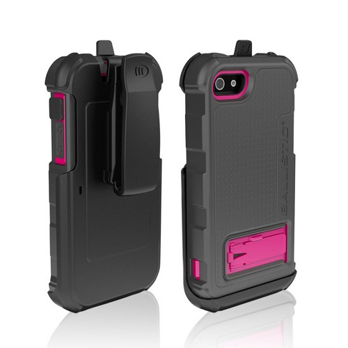 Ballistic Gray/ Hot Pink Hard Core Series Hybrid Case w/ Holster & Built-In Screen Protector for Apple iPhone 5 - HC0956-M115