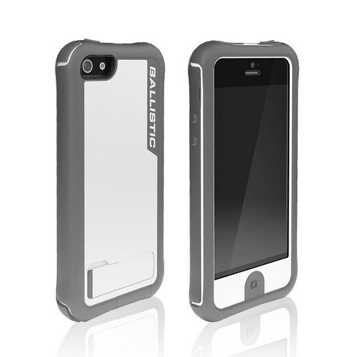 Ballistic White/ Gray Every1 Series Hybrid Case w/ Holster & Built-In Screen Protector for Apple iPhone 5