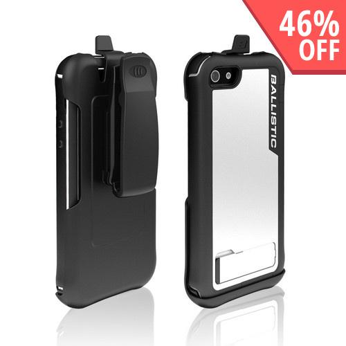 Ballistic White/ Black Every1 Series Hybrid Case w/ Holster & Built-In Screen Protector for Apple iPhone 5