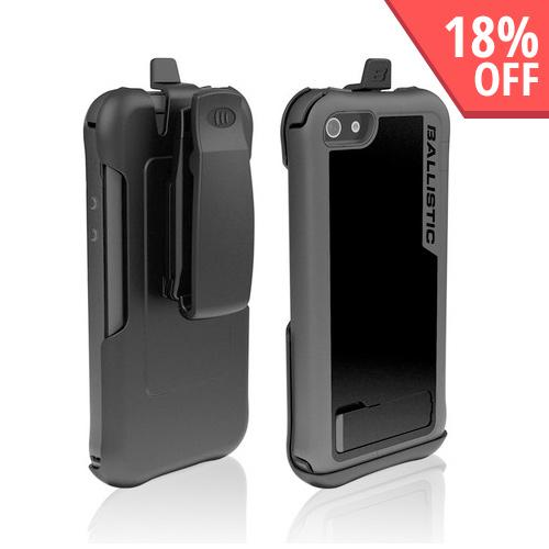 Ballistic Black/ Gray Every1 Series Hybrid Case w/ Holster & Built-In Screen Protector for Apple iPhone 5