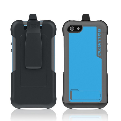 Ballistic Gray/ Light Blue Every1 Series Hybrid Case w/ Holster & Built-In Screen Protector for Apple iPhone 5