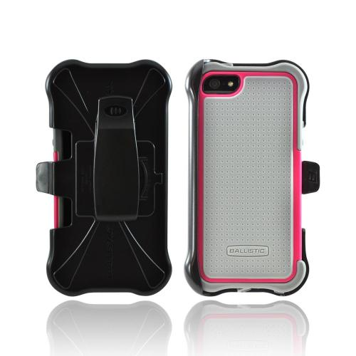 OEM Ballistic Apple iPhone 5 SG MAXX Hybrid Case w/ Holster & Screen Protector, SX0945-M115 - Gray/ Magenta