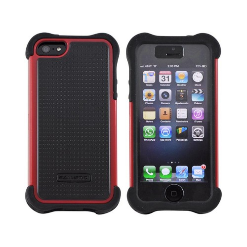 OEM Ballistic Apple iPhone 5 SG MAXX Hybrid Case w/ Holster & Screen Protector, SX0945-M355 - Black/ Red