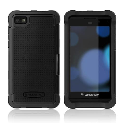 Ballistic Shell Gel Series Black Hard Cover on Black Silicone Case for BlackBerry Z10