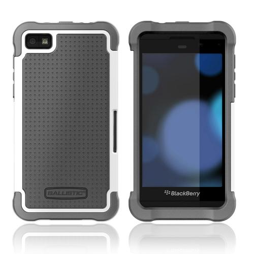Ballistic Shell Gel Series Black/ White Hard Cover on Black Silicone Case for BlackBerry Z10
