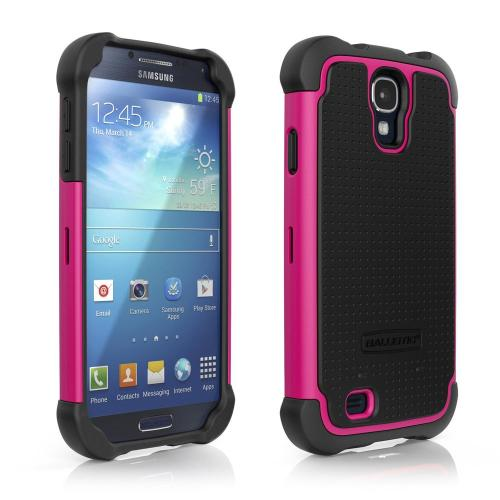 Ballistic Black/ Hot Pink Shell Gel Series Back Cover Over Silicone Case for Samsung Galaxy S4