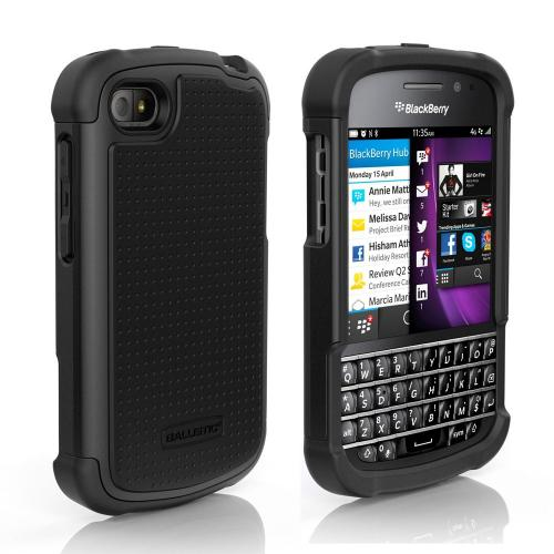 Ballistic Black Shell Gel Series Back Cover Over Silicone Skin Case for Blackberry Q10