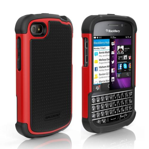 Ballistic Black/ Red Shell Gel Series Back Cover Over Silicone Skin Case for Blackberry Q10