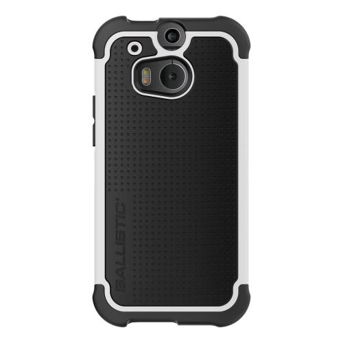 Ballistic Black/ White Shell Gel (SG) Series Hard Case on Black Silicone for HTC One (M8) - SG1307-A085