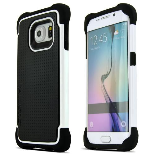 Ballistic Black/ White Samsung Galaxy S6 Edge Tough Jacket (TJ) Series Hard Case on Silicone Skin Case [TJ1613-A08N ] - Protection Without the Bulk!