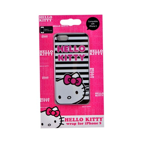 Officially Licensed Sanrio Apple iPhone 5/5S Hard Back Cover  KT4489BWP - Black/ White Stripes Hello Kitty
