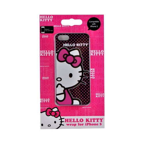 Officially Licensed Sanrio Apple iPhone 5/5S Hard Back Cover  KT4489PBD - Hello Kitty on Pink Polka Dots
