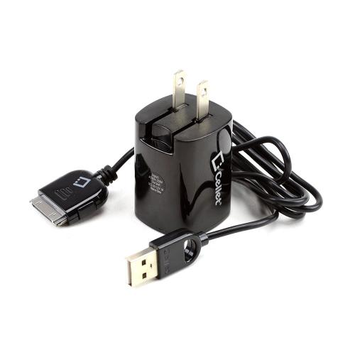 Cellet Universal Dual USB Port Travel Charger Adapter & Apple Charging Cable - Black (1000 mAh)