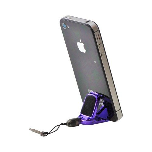 3.5mm Headphone Jack Stopple Stylus/ Stand/ Screen Cleaner - Purple