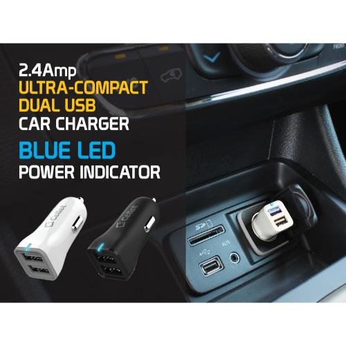 Cellet White High Power 2.4A Dual USB Port Car Charger with Micro USB Cable