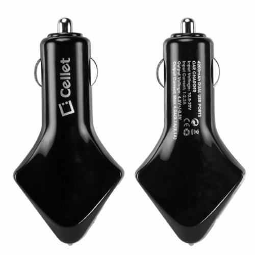 Cellet Black Super Fast 4200mAh Dual USB Port Car Charger - Perfect for Tablets!