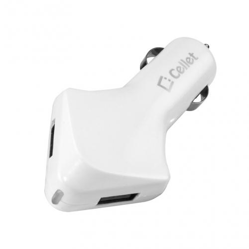 Cellet White Super Fast Universal 4200mAh Dual USB Port Car Charger - Perfect for Tablets!