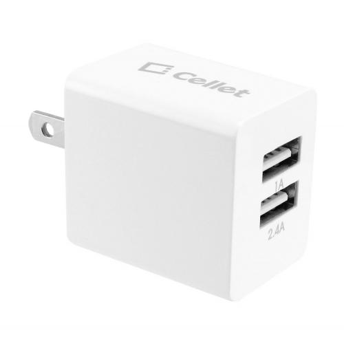 Cellet White 3400mAh Dual USB Port Home and Travel Charger with Micro USB Cable - Charge Tablets!