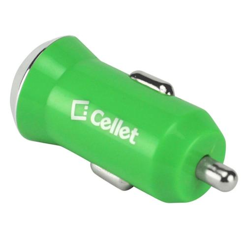 Cellet Green 2400mAh (2.4 Amps) Rapid Mini USB Car Charger - Charges Tablets!