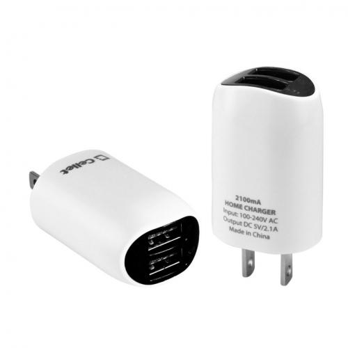 Cellet Black High Powered Dual USB Port 2.1A Home Travel Wall Charger (Cable Not Included)