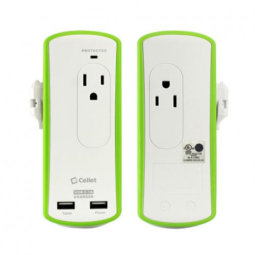 Cellet Compact 2 Outlet Surge Protector + Dual USB Ports Travel Charger
