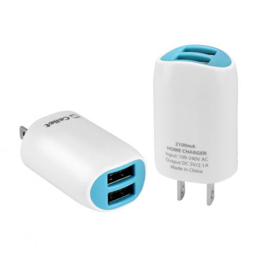 Cellet Blue High Powered Dual USB Port 2.1A Home Travel Wall Charger (Cable Not Included)