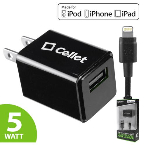 Black 5 Watt (1 Amp) with Folding Blades Single Port Home Charger (Lightning Compatible Cable Included  Apple MFI Certified)