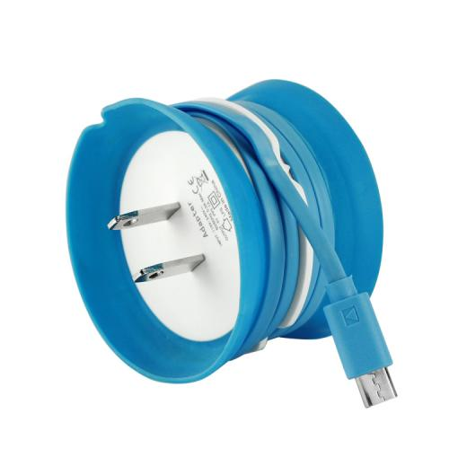 Cellet Blue/ White Cord Keeper 1000mAh Micro USB Home Wall Charger