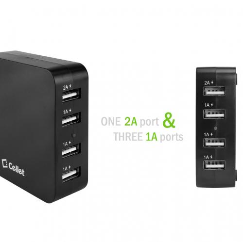 Cellet Black 5V / 5.1A 4-Port USB Desktop Charging Station/Travel Wall Charger - Charge Your Tablets!
