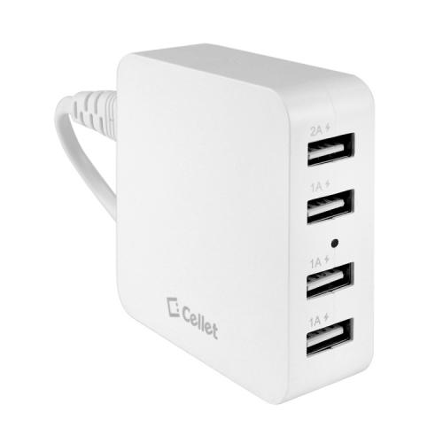 Cellet White 5V / 5.1A 4-Port USB Desktop Charging Station/Travel Wall Charger - Charge Your Tablets!