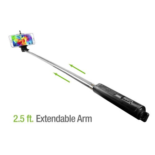 Extendable Wireless Bluetooth Self Portrait Selfie Handheld Monopod for Smartphones and Cameras
