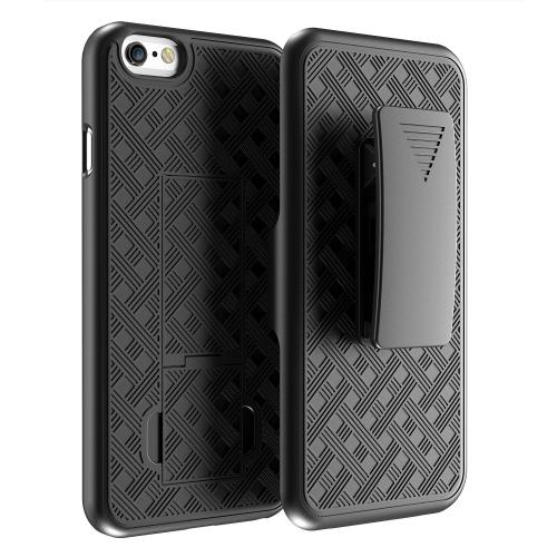 [Black] Shell + Holster + Kickstand Combo Case with Belt Clip Made for iPhone 6 (4.7 inch)