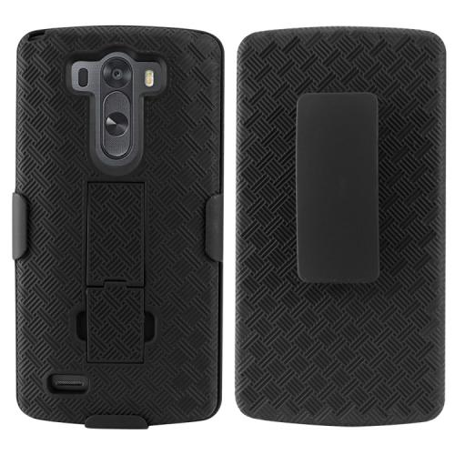 Cellet Black Shell + Holster + Kickstand Combo Case with Belt Clip for LG G3