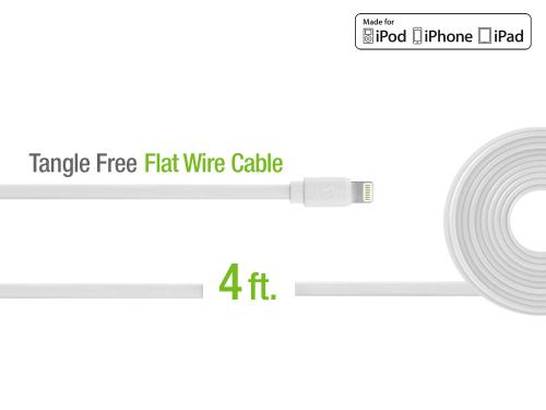 White 4 Ft. Lightning Compatible Flat Wire Charging Data Sync Cable (Apple MFI Certified)