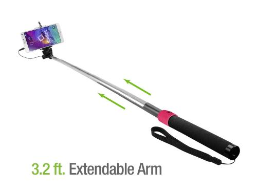 Hot Pink / Black Extendable Self Portrait Selfie Stick Handheld Monopod with Aux Cable for Smartphones - Take the Perfect Selfie!