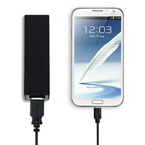 Power Source Black Universal 6A Dual USB External Battery Charger w/ 1A USB Port & 2.1A USB Port