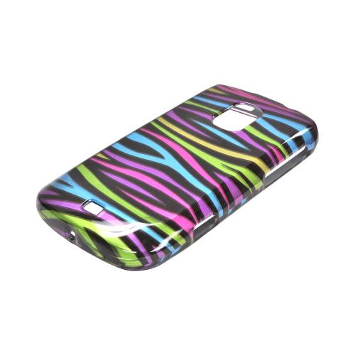 OEM MultiPro Samsung Galaxy S Lightray 4G Hard Case - Rainbow Zebra on Black