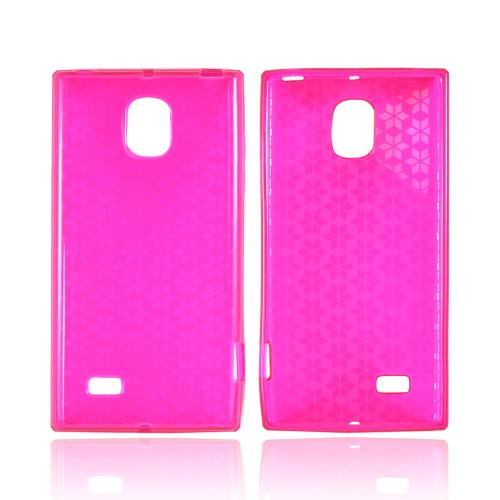 OEM MultiPro LG Spectrum 2 Crystal Silicone Case - Hot Pink Hex Star