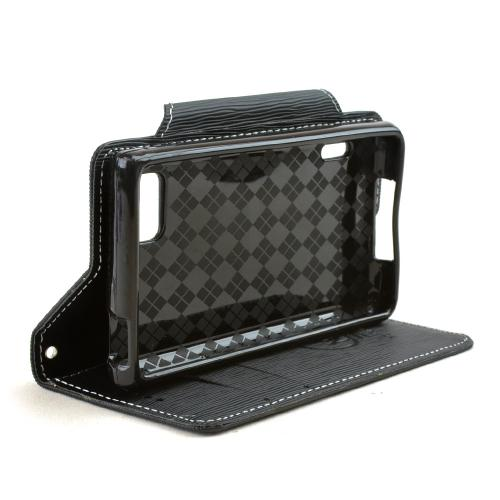 Power Mobile Black Faux Leather Diary Flip Case w/ ID Slots, Bill Fold, Magnetic Closure for LG Optimus F3 - Sprint/ Virgin Mobile