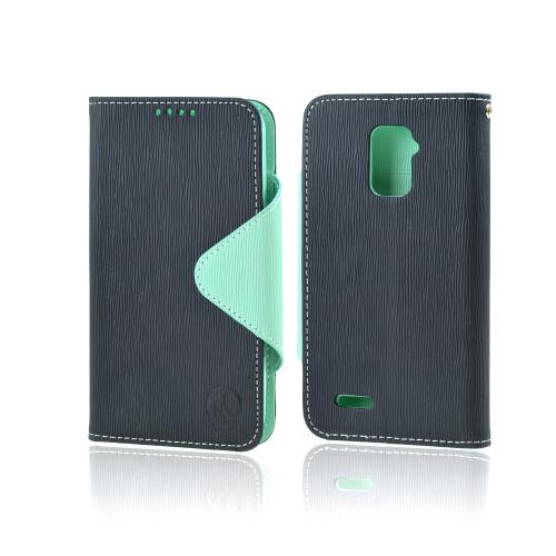 Power Mobile Navy/ Mint Faux Leather Diary Flip Case w/ ID Slots, Bill Fold, Magnetic Closure for ZTE Warp 4G