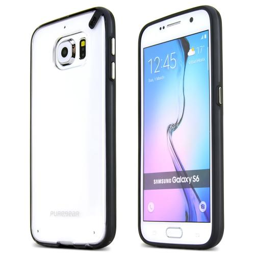 Samsung Galaxy S6 Case, PureGear [Black/ Clear]  Slim & Protective Crystal Glossy Snap-on Hard Polycarbonate Plastic Case Cover