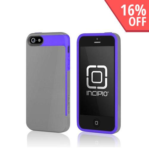 Incipio Gray/ Purple Faxion Series Hybrid Hard Case w/ Screen Protector for Apple iPhone 5/5S