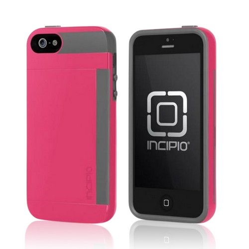 Incipio Hot Pink/ Gray Stowaway Series Hybrid Hard Case & Crystal Silicone Lining w/ ID & Card Compartment for Apple iPhone 5/5S - IPH-855
