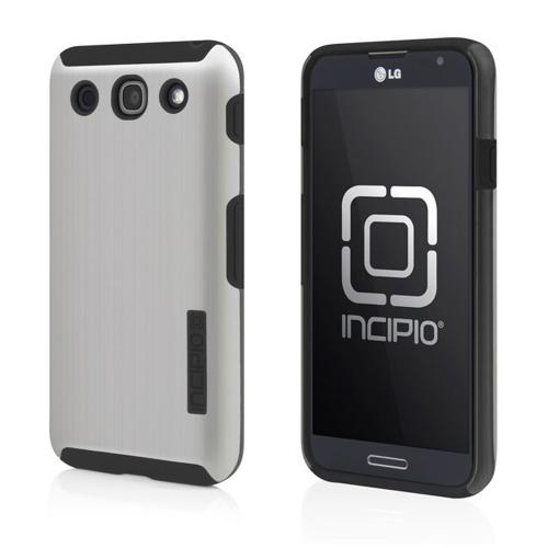 Incipio Silver/ Black Dual PRO Shine Series Brushed Aluminum Hard Case on Silicone w/ Screen Protector for LG Optimus G Pro - LGE-187